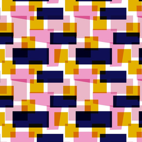 Blue Pink Orange Colour Block pattern