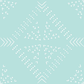 mudcloth freehand  tile - mint - large
