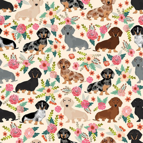 LARGE - dachshund floral vintage flowers doxie fabric doxie dachshunds design cute doxie dog