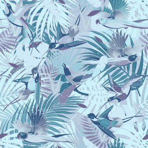 Paradise Birds in pale blue