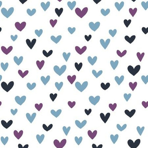 Colored hearts on white background