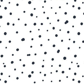 Black polka dot ornament on white background. Dots fabric.