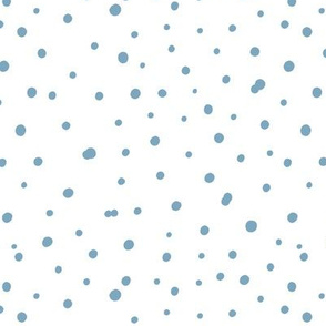 Hand drawn blue polka dot on white. Scandinavian design.