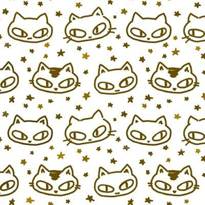 Kitties and Twinkle Stars White
