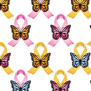 Pink and Gold Ribbons with Butterflies