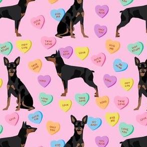 min pin candy hearts fabric - love fabric, dog fabric, min pin fabric, candy hearts fabric -pink
