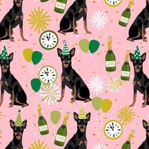 min pin nye fabric - dog new years, new years eve, celebration, min pip fabric - pink
