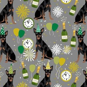 min pin nye fabric - dog new years, new years eve, celebration, min pip fabric -  grey