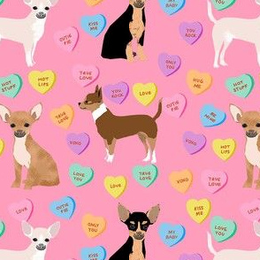 chihuahua dog valentines fabric - candy hearts fabric, love fabric, dog valentines design - pink