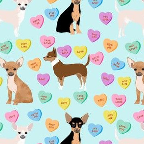 chihuahua dog valentines fabric - candy hearts fabric, love fabric, dog valentines design - blue