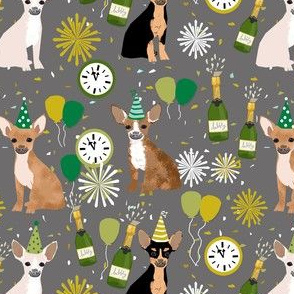 chihuahua new years even fabric - dog new years, champagne celebration dog fabric - new years - grey