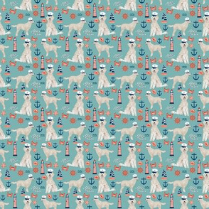 TINY - Golden Doodle nautical dog fabric pattern light blue