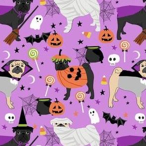 pug halloween dog fabric - black pug fabric, fawn pug fabric, halloween costume dogs, halloween pugs - purple