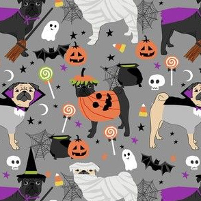 pug halloween dog fabric - black pug fabric, fawn pug fabric, halloween costume dogs, halloween pugs - grey