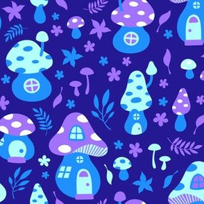 Fairy Toadstool Houses Blue