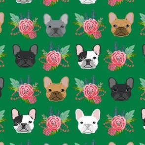 French Bulldog flowers florals frenchies dog girls flowers baby nursery sweet painted flower - kelly green