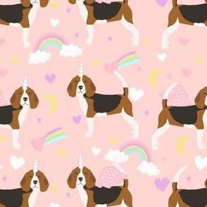 beagle unicorn fabric - cute beagles fabric, pastel unicorn fabric, pastel dog fabric, dog unicorns,  - soft pink