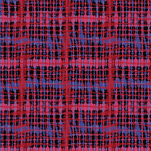 Shibori - red, black & blue