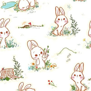 Woodland Bunnies - Medium Print