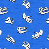 dinosaur fossils on blue