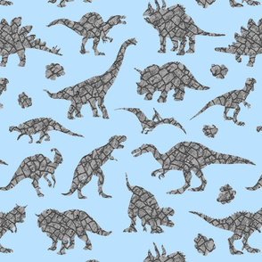 Granit dinosaurs in blue