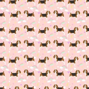 SMALL - beagle unicorn fabric - cute beagles fabric, pastel unicorn fabric, pastel dog fabric, dog unicorns,  - soft pink
