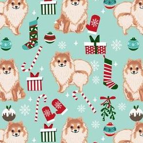 pom christmas fabric pomeranian dog fabric - dog, candy cane, holiday design - mint