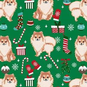 pom christmas fabric pomeranian dog fabric - dog, candy cane, holiday design - green