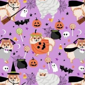 pomeranian halloween fabric - dog halloween fabric, dog costume halloween  - cute pom fabric - purple