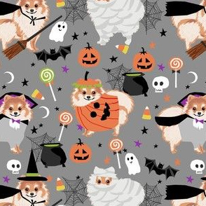 pomeranian halloween fabric - dog halloween fabric, dog costume halloween  - cute pom fabric -grey