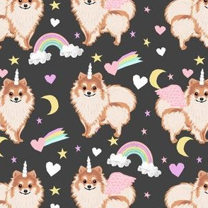 pomeranian unicorn fabric - pastel dog fabric, dog unicorn fabric, pomeranian unicorn, pet friendly - grey