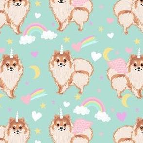 pomeranian unicorn fabric - pastel dog fabric, dog unicorn fabric, pomeranian unicorn, pet friendly - mint