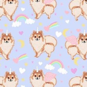 pomeranian unicorn fabric - pastel dog fabric, dog unicorn fabric, pomeranian unicorn, pet friendly - powder