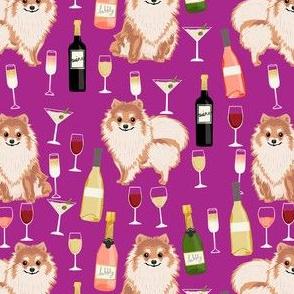 pomeranian wine fabric, dogs and wine fabric, dog wine, dog breed fabric, pom dog fabric, pom dogs - purple