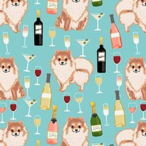 pomeranian wine fabric, dogs and wine fabric, dog wine, dog breed fabric, pom dog fabric, pom dogs - blue