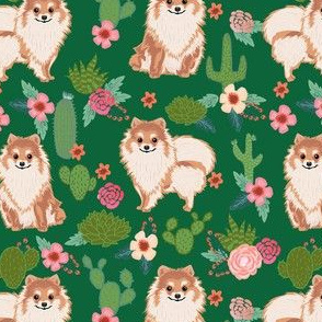 pomeranian cactus fabric - dog cactus fabric, floral cactus fabric, cute dog, dogs fabric, - green