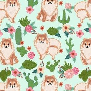 pomeranian cactus fabric - dog cactus fabric, floral cactus fabric, cute dog, dogs fabric, - light mint