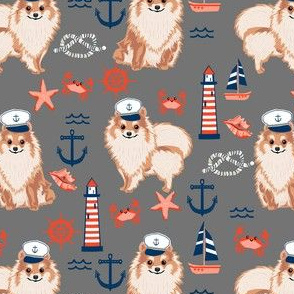 pomeranian nautical dog fabric - nautical dog design, cute dog fabric, dogs fabric- grey