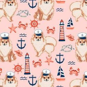 pomeranian nautical dog fabric - nautical dog design, cute dog fabric, dogs fabric-  blush