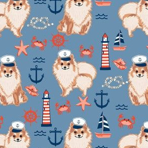 pomeranian nautical dog fabric - nautical dog design, cute dog fabric, dogs fabric-  blue