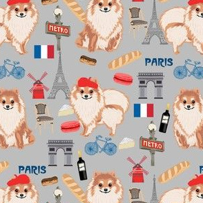 omeranian paris fabric, dog fabric, dog breed fabric, paris dog fabric -  grey