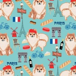 omeranian paris fabric, dog fabric, dog breed fabric, paris dog fabric - blue