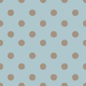 Half inch brown polka dot on blue