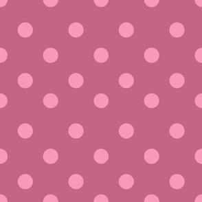 Half inch dark rose pink polka dot