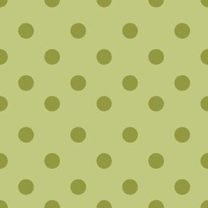 Half inch green polka dot