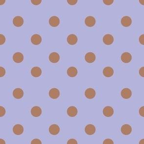 Half inch brown and violet polka dot