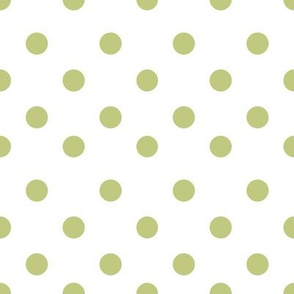 Half inch polka dot white and green