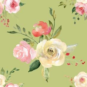 Tossed watercolor flower bouquet green