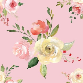Tossed watercolor flower bouquet pink