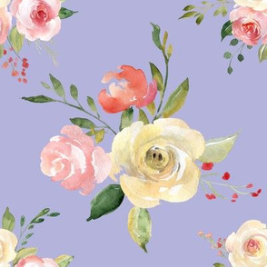 Tossed watercolor flower bouquet violet